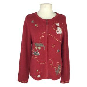 Christopher & Banks Appliqued Cats At Play Sweater